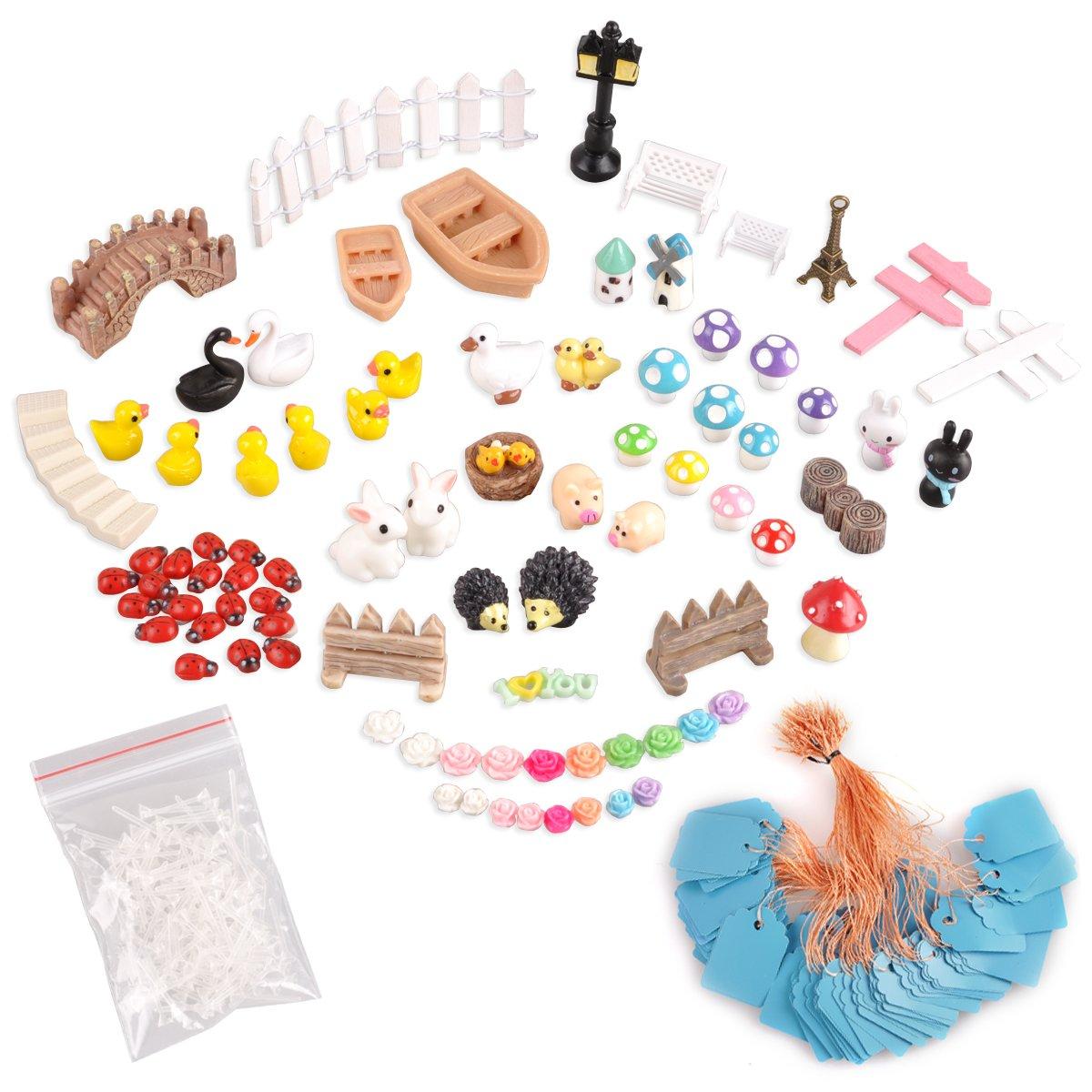 eZAKKA 86 Pieces Miniature Fairy Garden Ornaments Dollhouse Succulent Plant Landscape Pot Figurine DIY Accessories Kit Decor Set with Tweezers for DIY Dollhouse Decor Home Outdoor Plant Decoration
