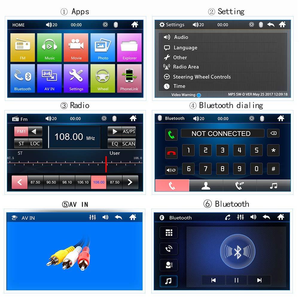 Miroir Link,R/écepteur FM /écran Tactile Velidy Lecteur dautoradio LCD Double DIN avec /écran Tactile LCD Compatible Bluetooth avec Port USB//AUX-in//TF cam/éra de recul t/él/écommande
