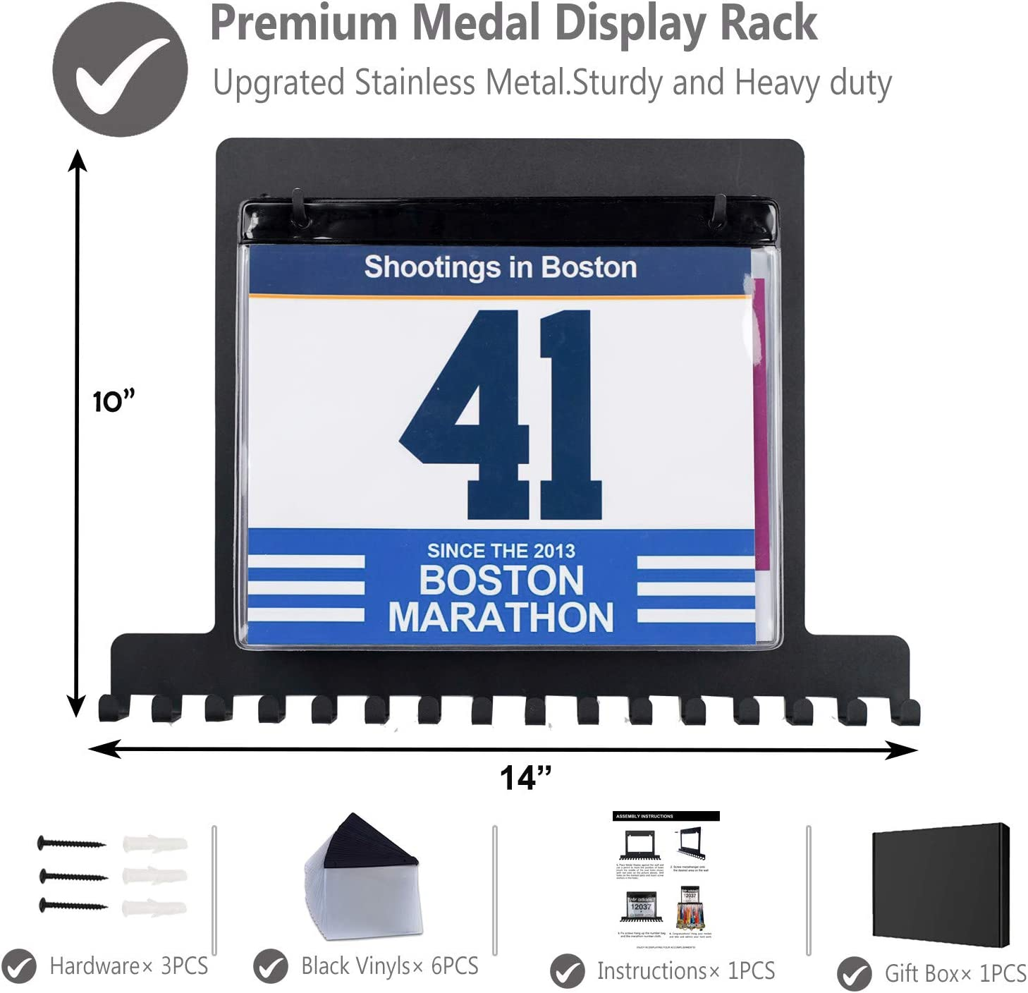 Marathon Running Wrestling Racing Award Medal Display Rack and Trophy Shelf Lapetale Fashion Bib Medal Award Display Shelf Rack Holder,Trophy and Medal Display Ribbon Rack Hanger with Vinyls