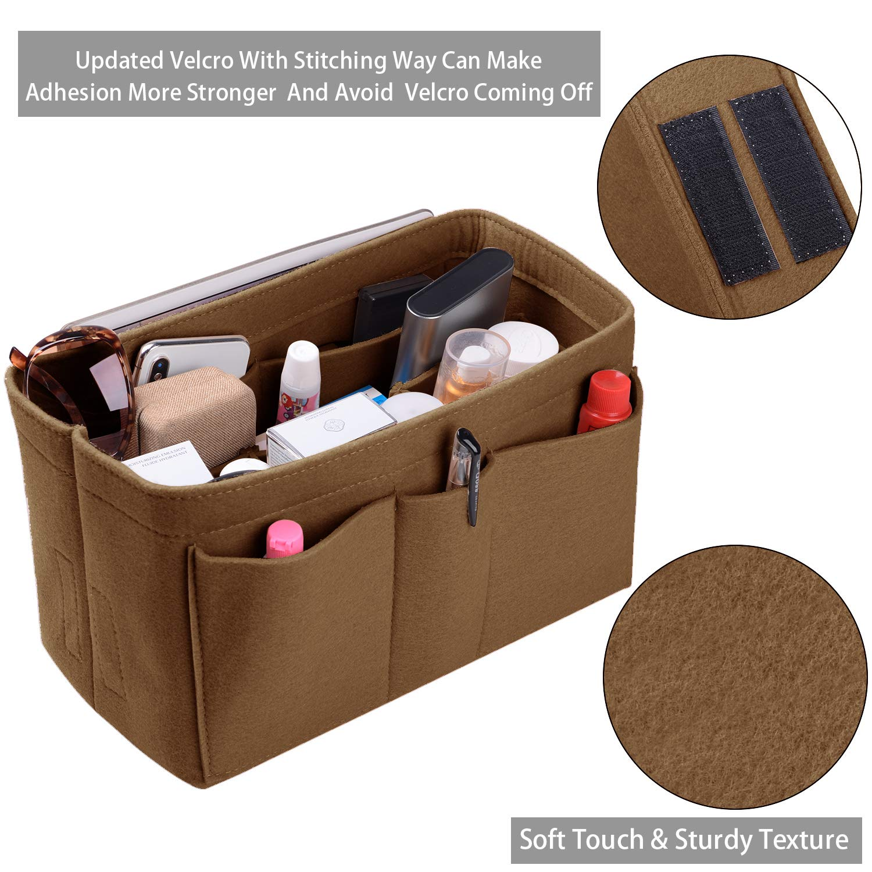 Purse Organizer Insert, Felt(3MM) Fabric Bag Organizer for LV Neverfull, LV Speedy, Purse Handbag Tote Bag, 3 Sizes, 8 Colors (medium, Light Coffee)