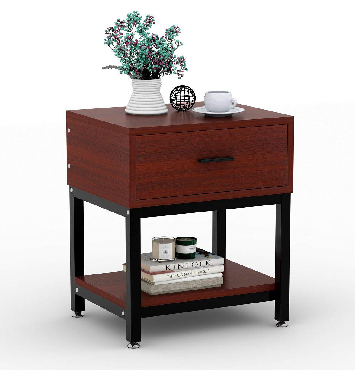 Night Stands, LITTLE TREE Side End Table with Drawer and Shelf for Bed Room Living Room, Beside Table with Storage, Metal Frame & Wood, Cherry by LITTLE TREE (Image #2)