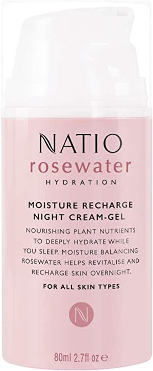 Natio Rosewater Hydration Moisture Recharge Night Cream Gel, 80ml