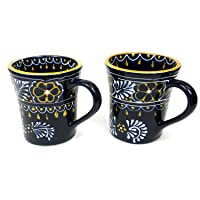Global Crafts Encantada Handmade Hand-Painted Authentic Mexican Pottery, Flared Coffee Mugs, Blue Helecho, Set of 2