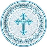 Radiant Cross Blue Religious Dinner Plates, 8ct