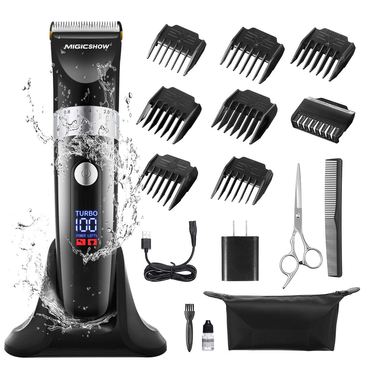 Hair Clippers for men, MIGICSHOW Cordless Hair Trimmer Beard Trimmer professional Hair Cutting Kit Detail Men s Hair Grooming Kit Waterproof LED Display Application of 100-240V