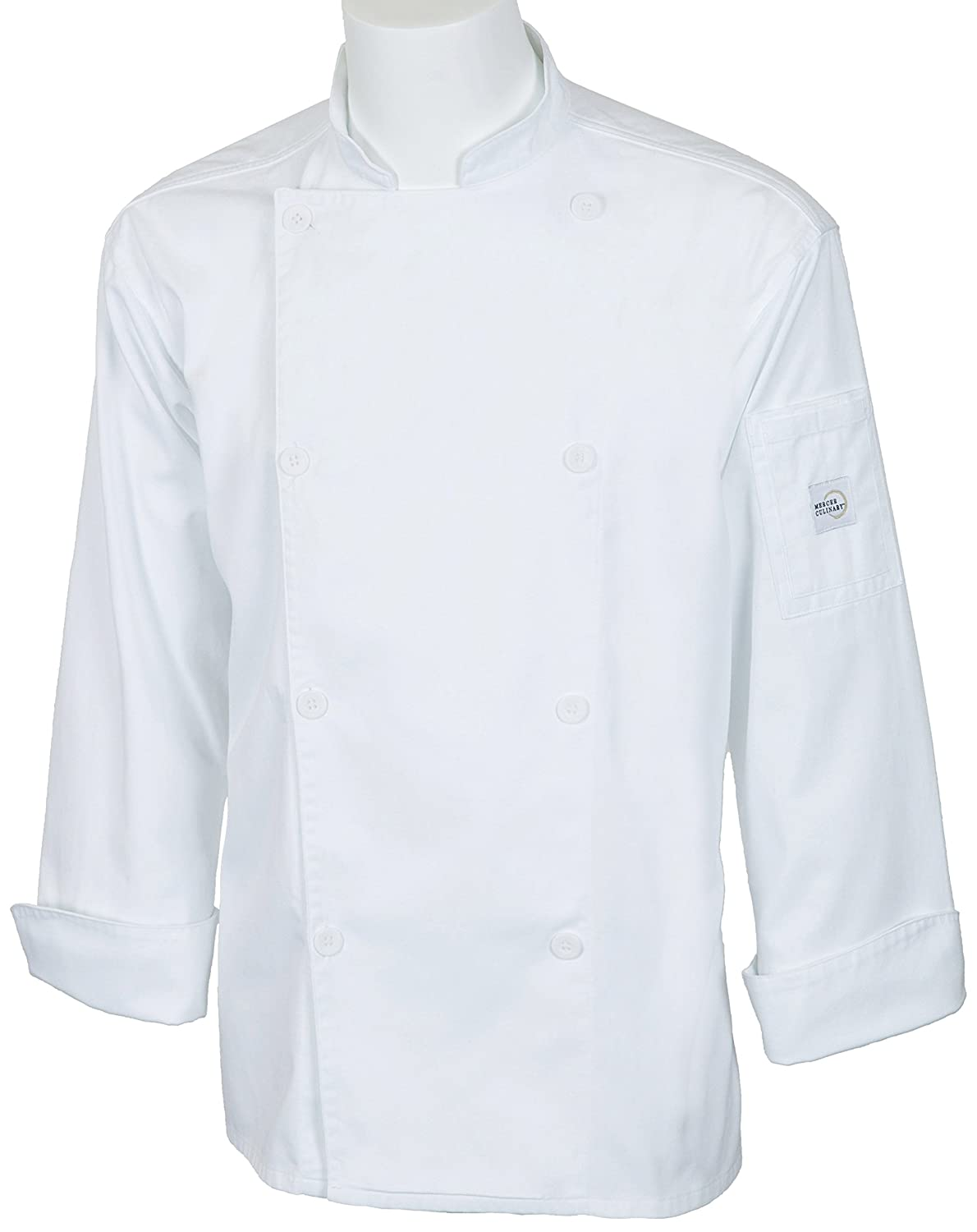 Mercer Culinary M61010WHXS Genesis Unisex Jacket with Mercer Logo Buttons, X-Small, White