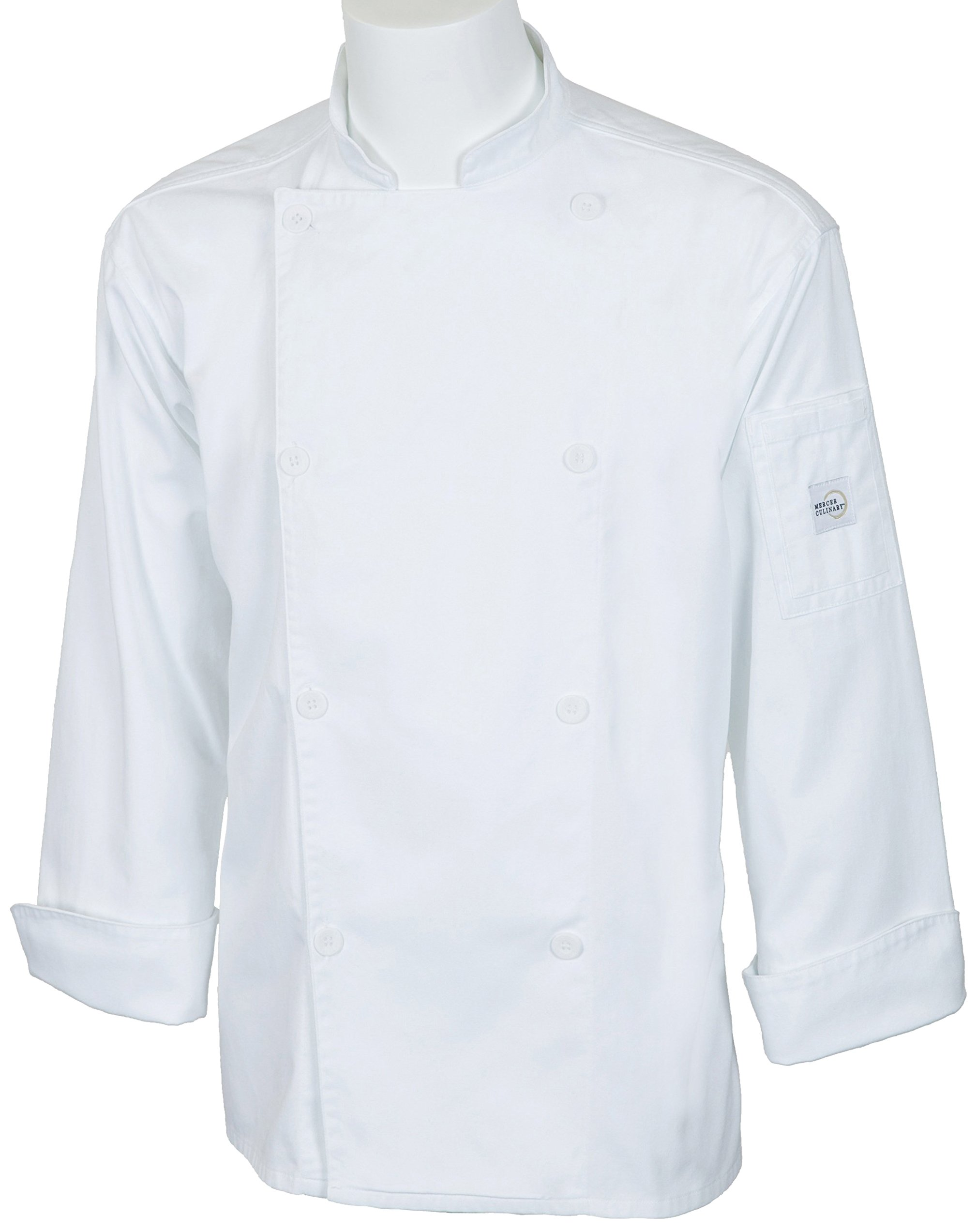 Mercer Culinary M61010WH1X Genesis Men's Jacket with Traditional Buttons, X-Large, White
