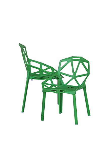 Amazoncom Modern Set Of 2 Hollow Out Geometric Style Chair Green