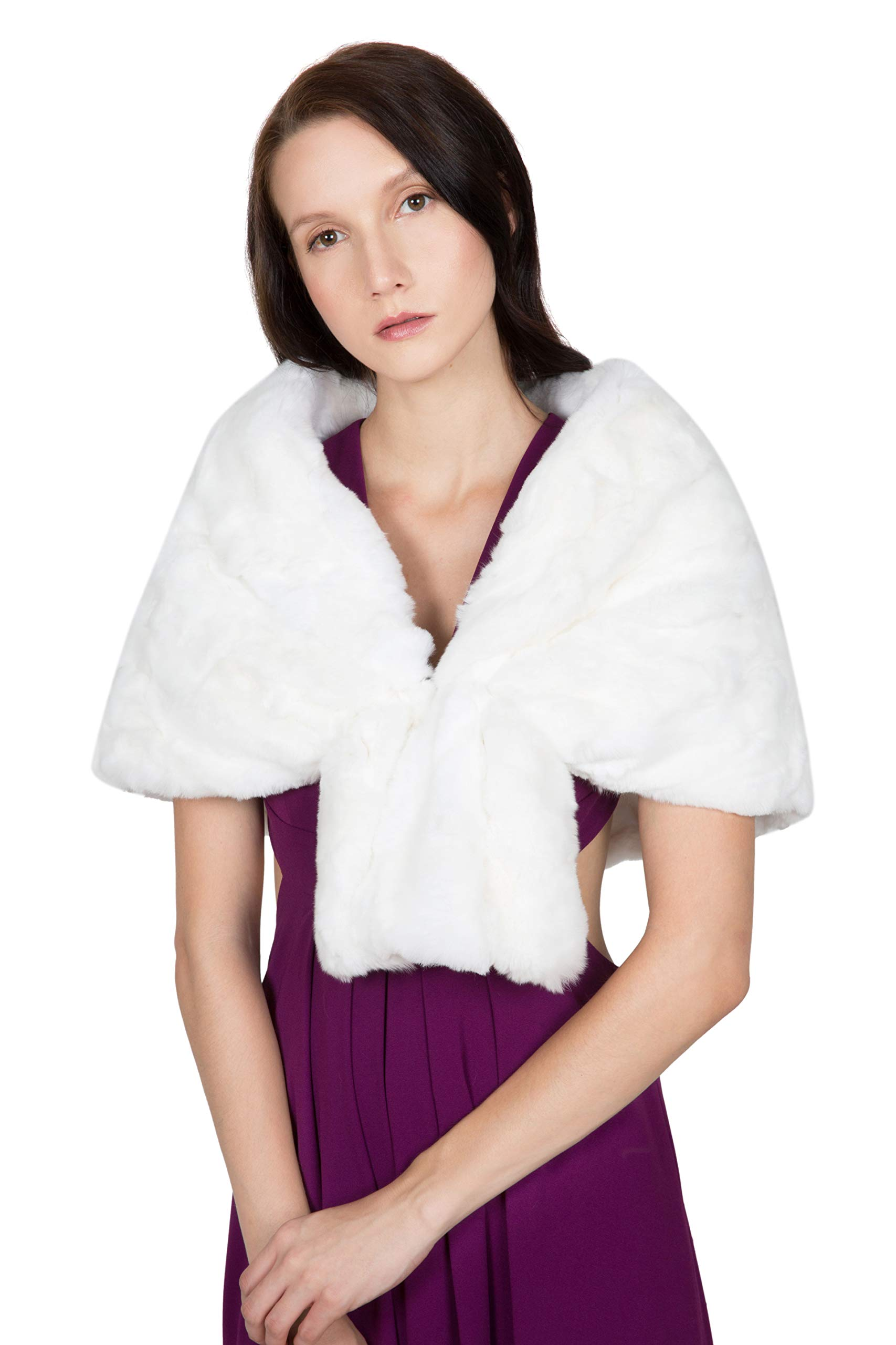 OBURLA Women's Rex Rabbit Fur Cape with Collar | Soft and Luxurious Real Fur Shawl Wrap Stole (Ivory)