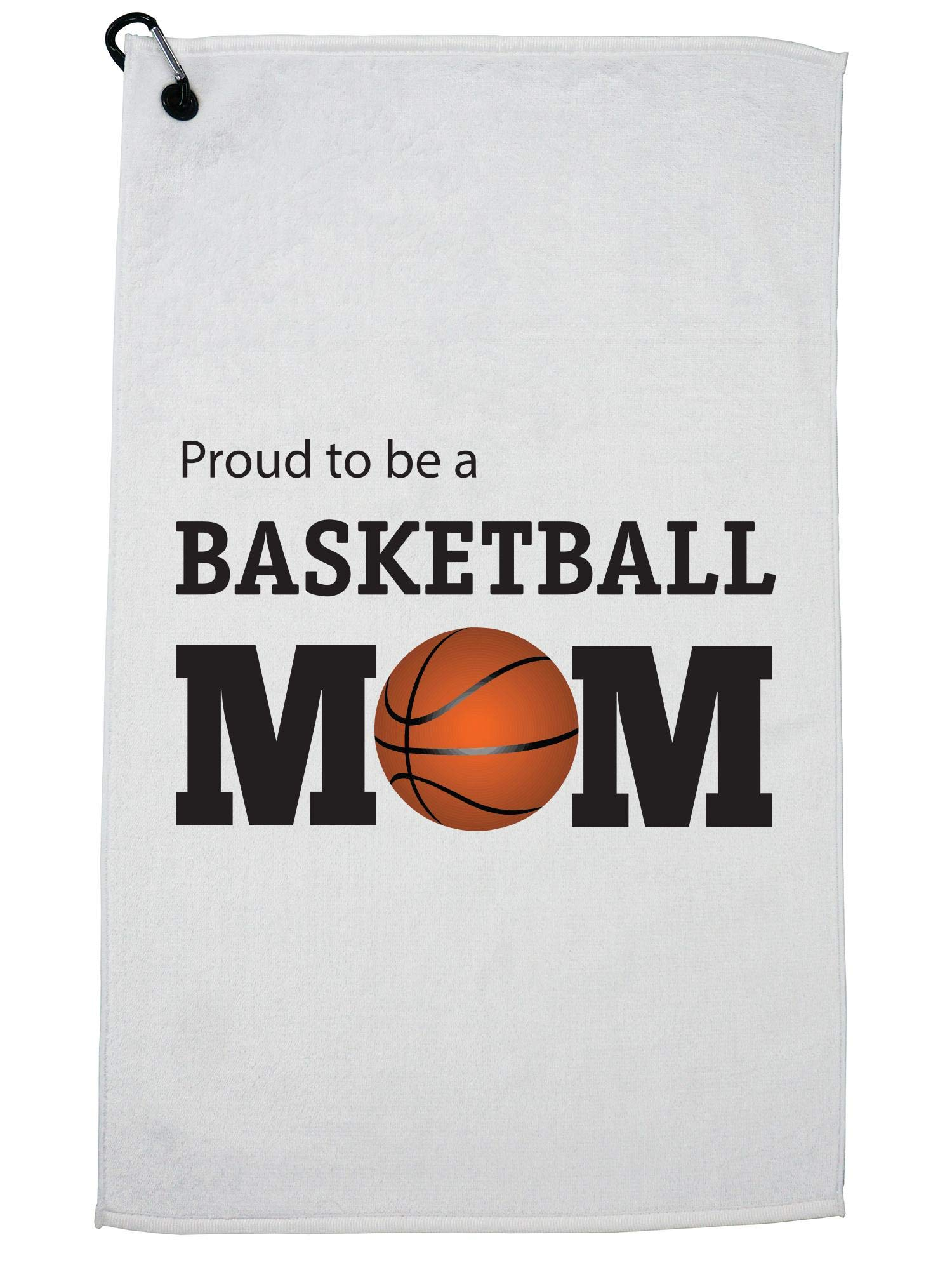 Hollywood Thread Proud to be a Basketball Mom Graphic Golf Towel with Carabiner Clip by Hollywood Thread