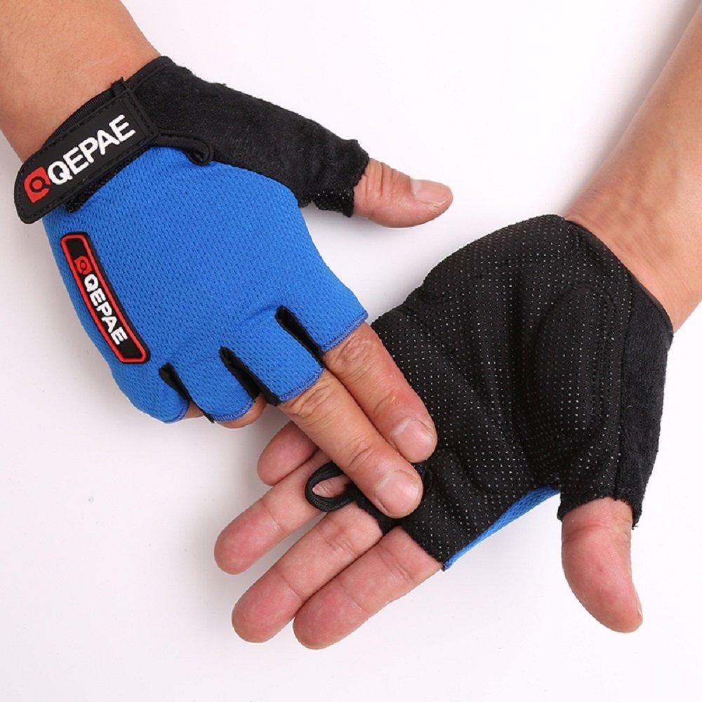 Tofernユニセックスハーフフィンガーサイクリング自転車グローブスポーツジム指なし手袋通気性滑り止めクイックドライ B07519X6BL  ブルー L: Palm width 3.2~3.5\