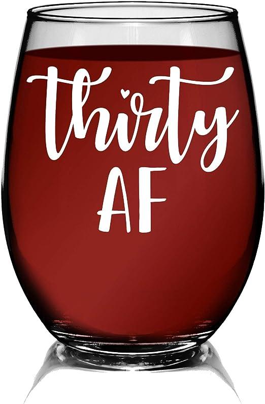 Amazon.com: YouNique Designs Thirty AF Copa de vino, 15 ...