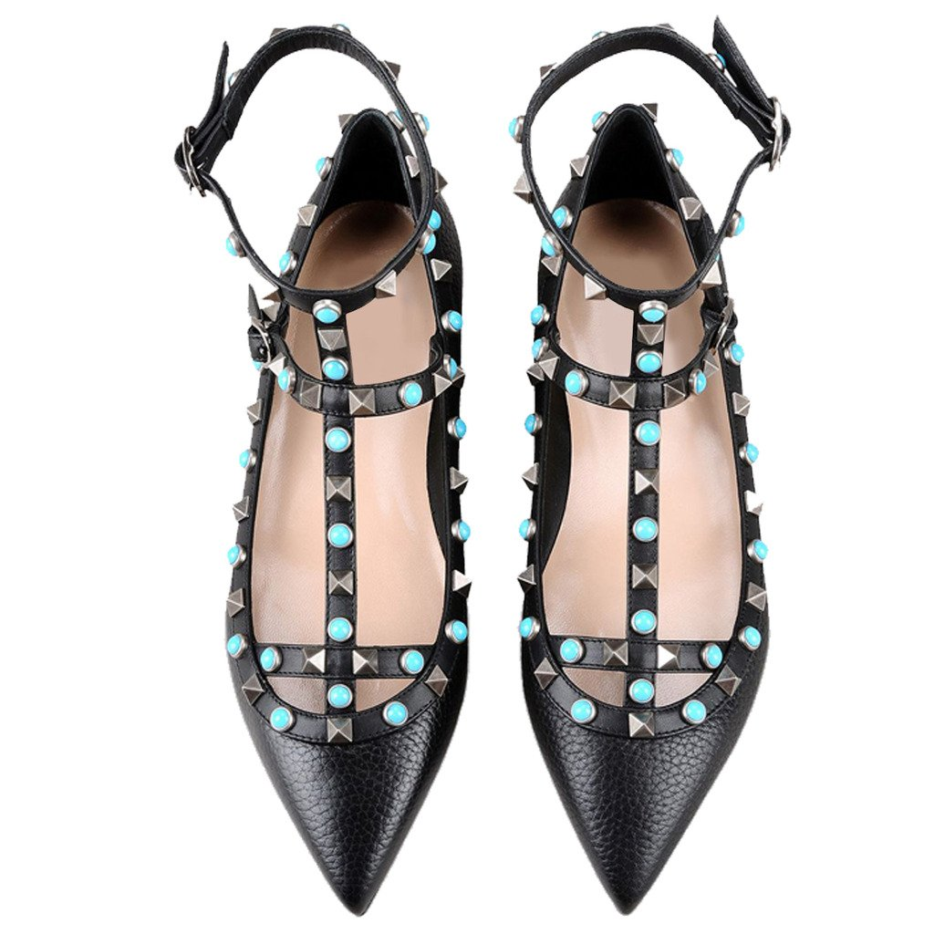 Comfity Women's Pointy Toe Rockstud Flats Strappy Ballerina Shoes B0722L6PP5 7 B(M) US|Black-flats