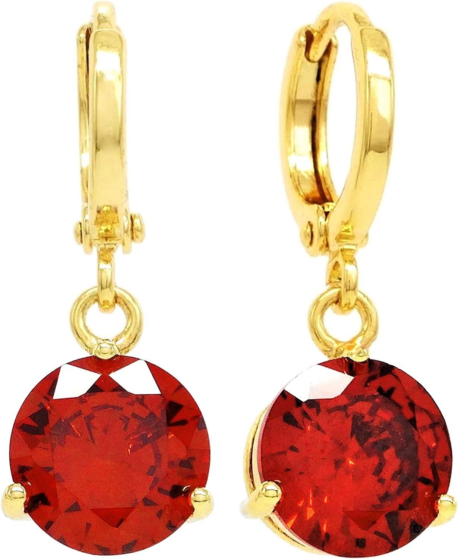 El oro amarillo genuino 18K plateó gota / cuelga los pendientes del raindrop con las piedras preciosas rojas del fuego claro con la caja negra de la joyería