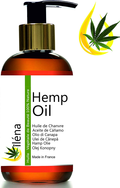 Aceite hidratante de masaje de Cañamo - hemp oil - Aceite calmante base para aceites esenciales Aceite barba, Envase con pompa (500 ml)