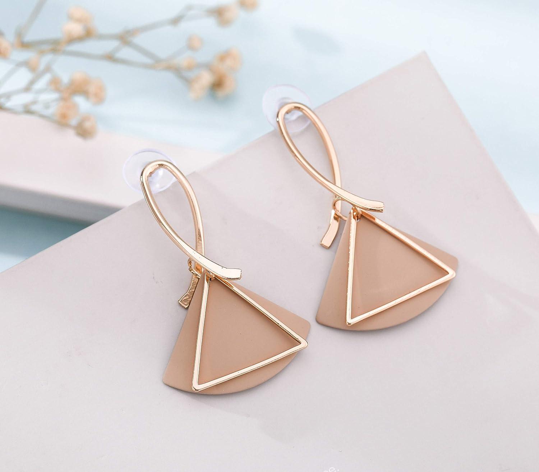 LIKGREAT Sector Triangle Earrings Geometric Drop Dangle Copper Fashion Earrings for Women
