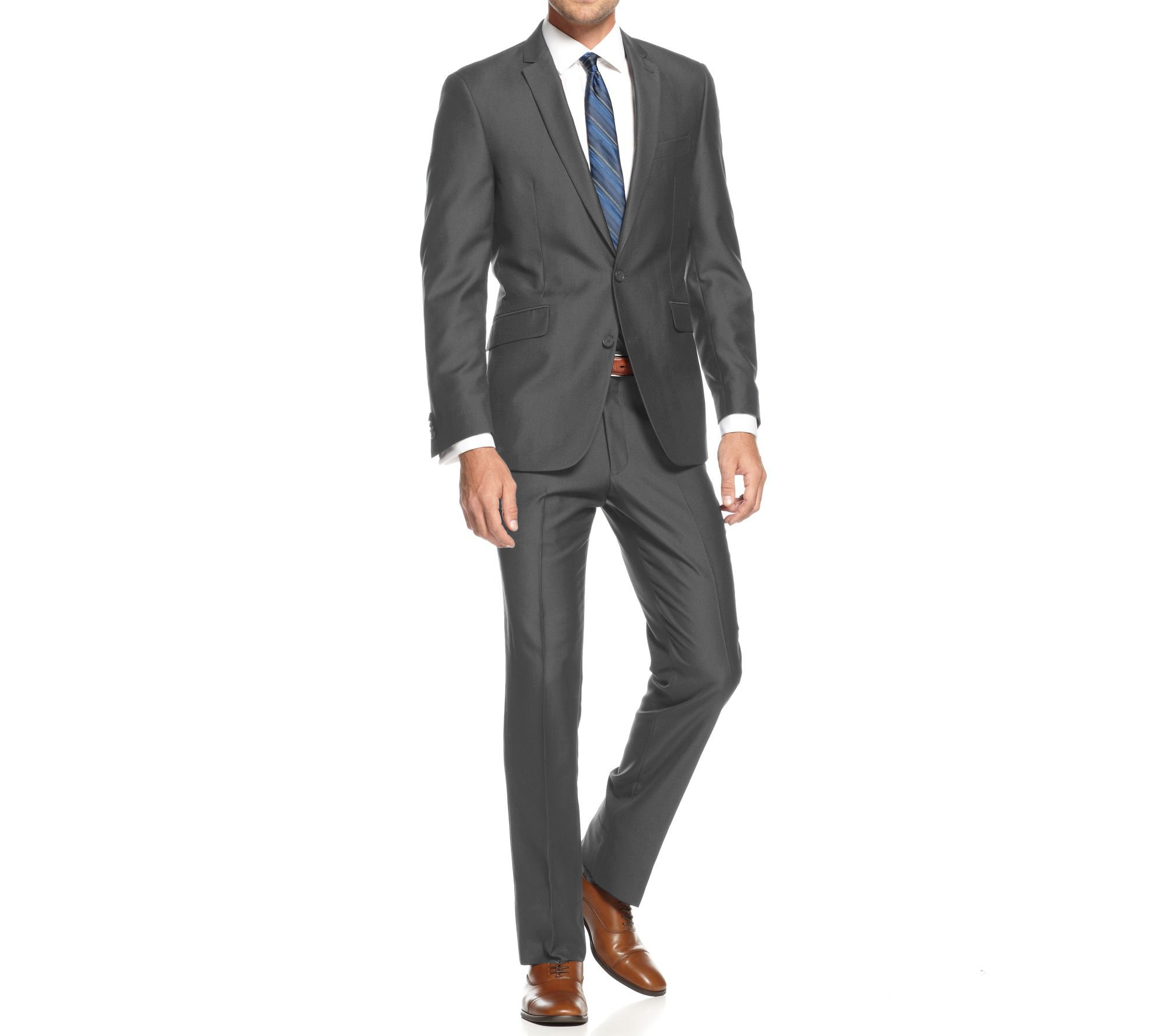 Braveman Mens Slim Fit Single Breasted 2 Piece Suit, Charcoal, Size 50R/44W