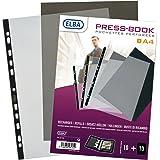Elba Sachet de 10 Pochettes perforées A4  + 10 bristols pour Press Book Polypropylène incolore avec bande de renfort noire