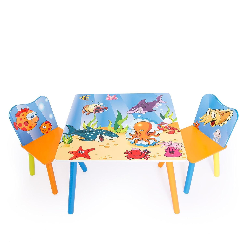 Homestyle4u 1120 Kindersitzgruppe Meer Fische , Kindermöbel Set aus 1 Kindertisch und 2 Stühle , Holz Blau Bunt