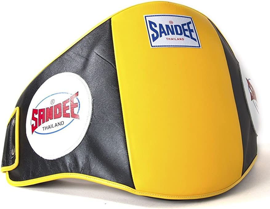 Sandee Muay Thai Boxing Belly Pad Black /& White Leather Training