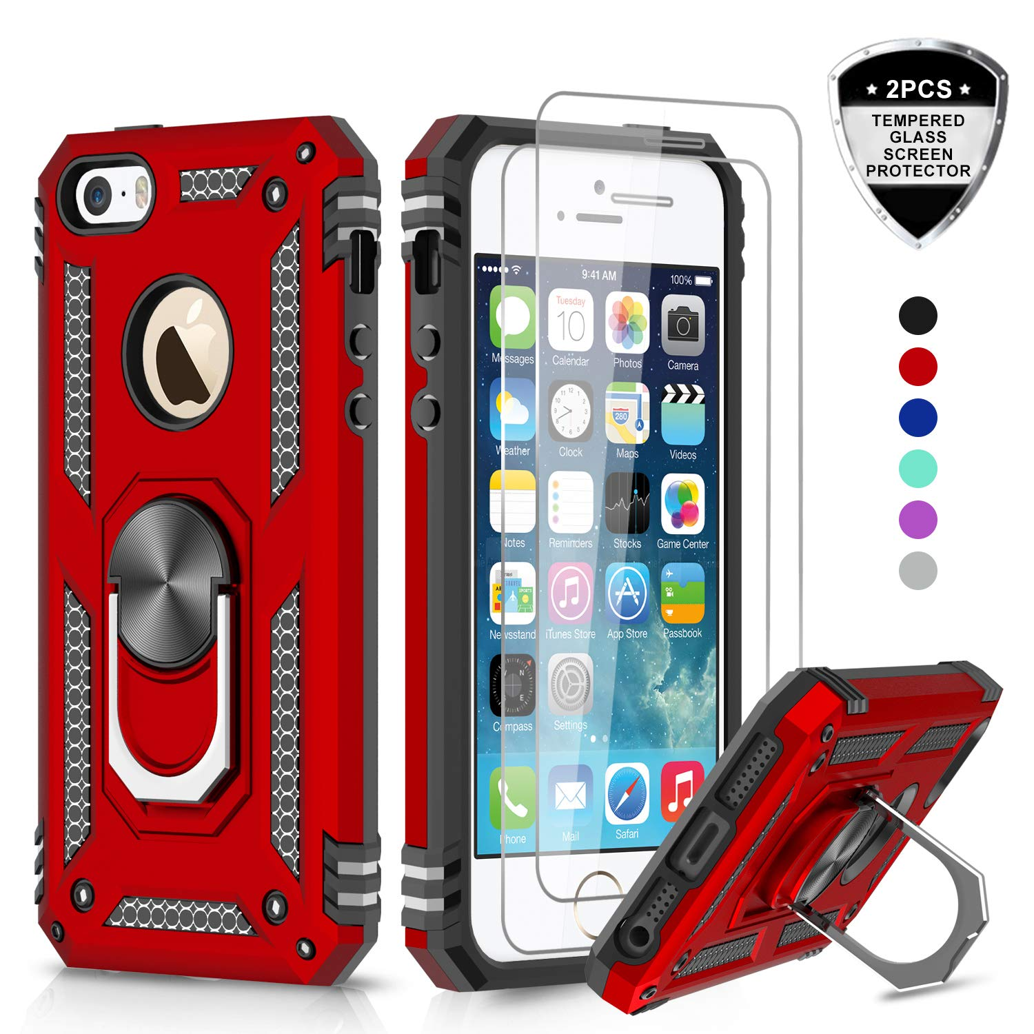 LeYi iPhone se Case, iPhone 5s Case, iPhone 5 Case with Tempered Glass Screen Protector [2 Pack], Military Grade Protective Phone Case with Ring Magnetic Car Mount Kickstand for iPhone 5/5s/se, Red