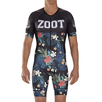 Zoot Mens LTD Aero Short Sleeve Tri Racesuit - High Performance Triathlon Racesuit with Carbon Fabric and 3 Pockets