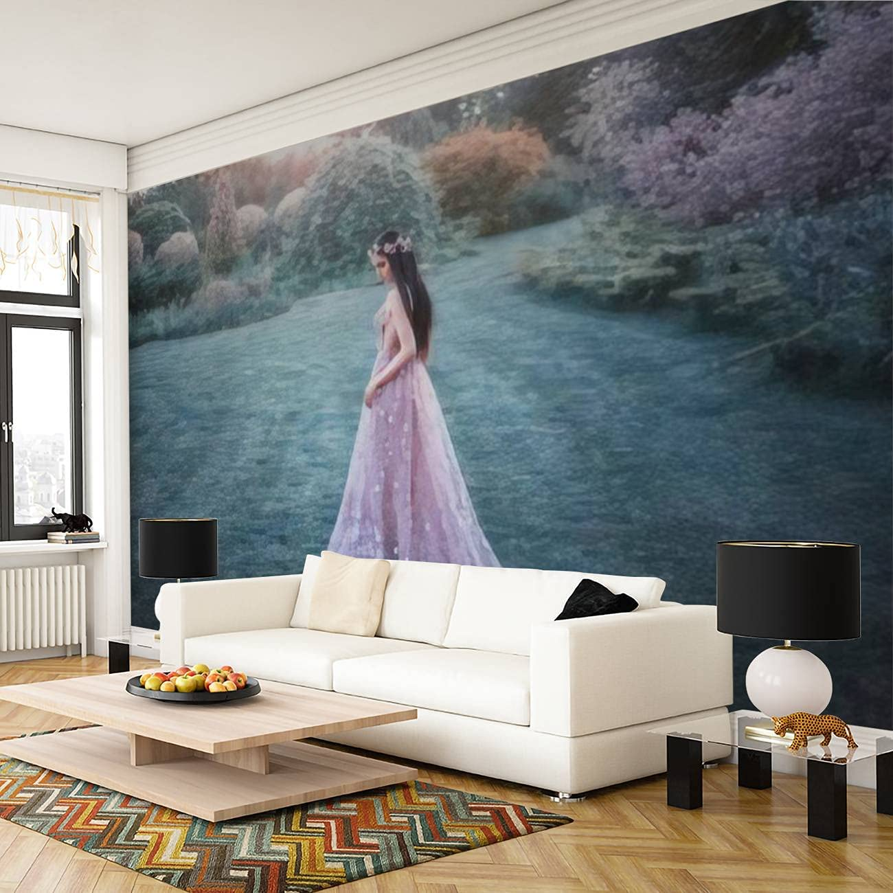 Attractive Fantasy Girl in a Fairy Garden Young elf Princess in a Removable Wall Mural Modern Design Self-Adhesive Large Wallpaper Peel and Stick Wall Stickers Home Decor