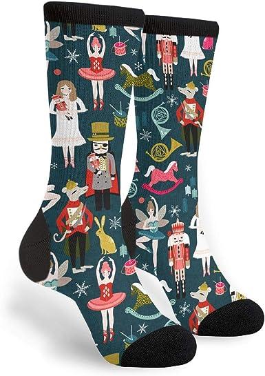 Nutcracker Xmas Christmas Socks,Christmas Gifts Unisex Casual Cotton Crazy Crew Socks