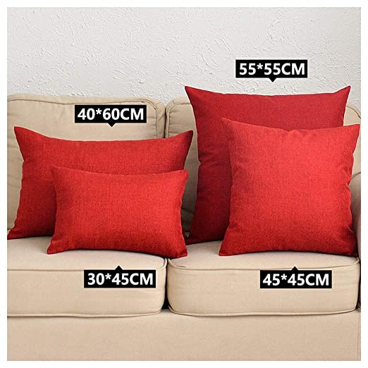 Fundas de cojín Coliang de lino, color simple sólido, para sofá, oficina, coche, dormitorio (30 x 45 cm), color rojo oscuro, rojo oscuro, 40x60CM(No ...