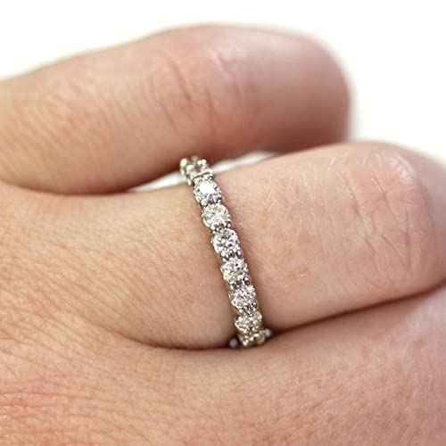 Details about  /1//3 Ct Diamond Half Eternity Anniversary Wedding Band 14K White Gold Over Size 7
