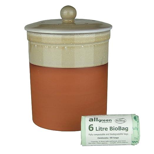 terracotta ceramic kitchen compost caddy sand colour u0026 50x 6l allgreen biobags