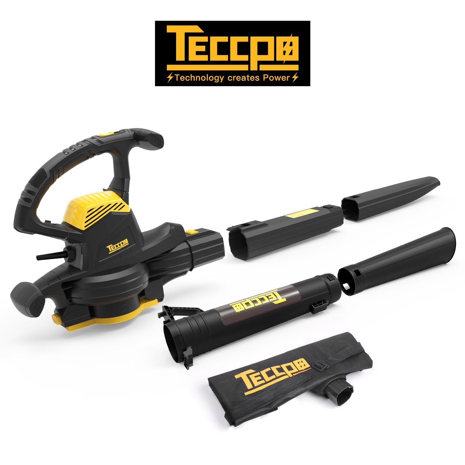 Leaf Blower Vacuum, TECCPO TABV01G 12-Amp 250MPH 410CFM 3 in 1 corded electric Two-Speed Sweeper/Vac/Mulcher, Plastic Impeller Metal Blade, Ideal for Lawn and Garden by TECCPO (Image #8)
