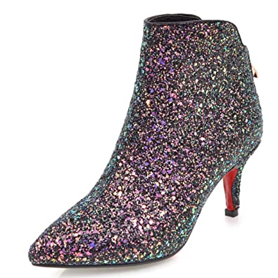 62fc2ffc482b Vitalo Womens Kitten Heel Sparkly Glitter Ankle Boots Zip Pointed Toe Party Booties  Shoes Size 4