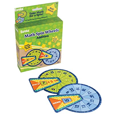 Eureka Back To School Addition Math Flash Cards for Kids, 12pc, 5.5'' x 1.5'' x 7.5'' : Office Products
