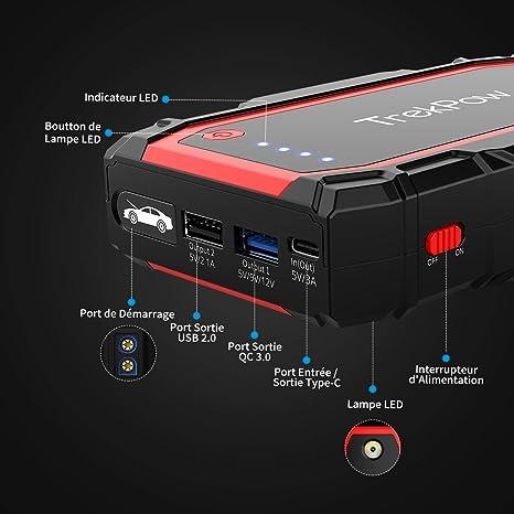 TrekPow Booster - Batería de Arranque para Coche (800 A, 12 V ...