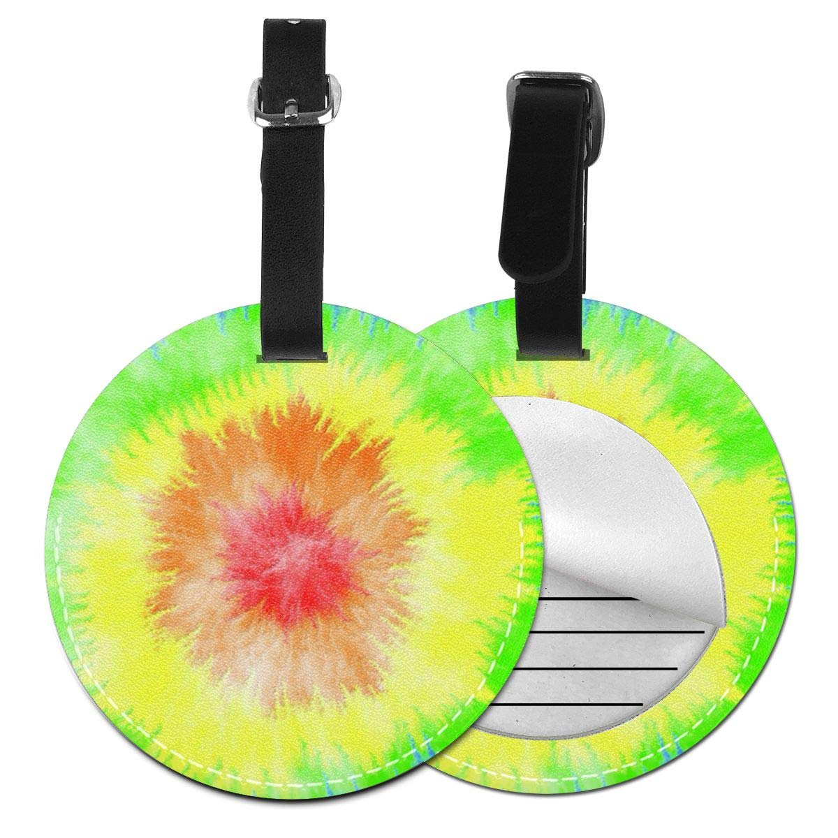 Free-2 Tie Dye Psychedelic Spiral 60s 70s Style Luggage Tag 3D Print Leather Travel Bag ID Card
