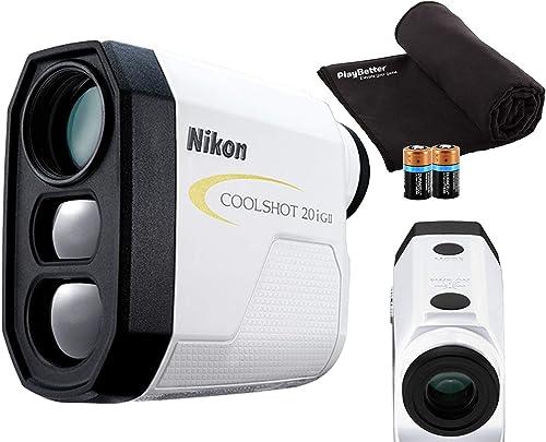 Nikon COOLSHOT 20i GII Golf Laser Rangefinder Bundle Includes Carrying Case, PlayBetter Microfiber Towel, Two 2 CR2 Batteries Slope Adjusted, 6X Magnification