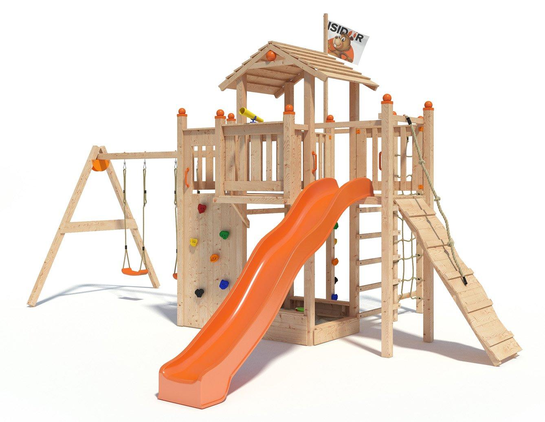 ISIDOR Funny Foo Spielturm Kletterturm mit einfachem Schaukelanbau, Rutsche, Kletternetz, XL-Leiter uvm. (mit einfachem Schaukelanbau inkl. 2 Schaukeln)