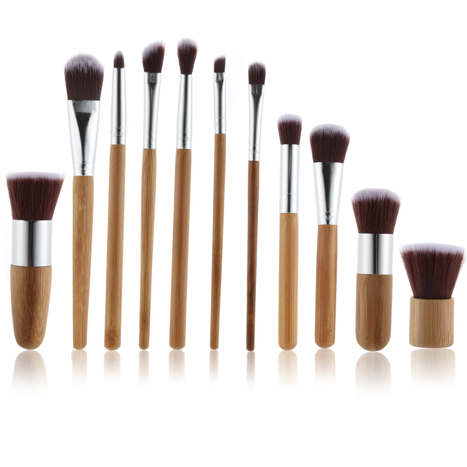 Bohol 11pcs Bamboo Handles Premium Soft Synthetic Makeup Brush Set Face Eye Shadow Eyeliner Foundation Blush Lip Powder Liquid Cream Brush Cosmetics Brushes Kit with Travel Bag