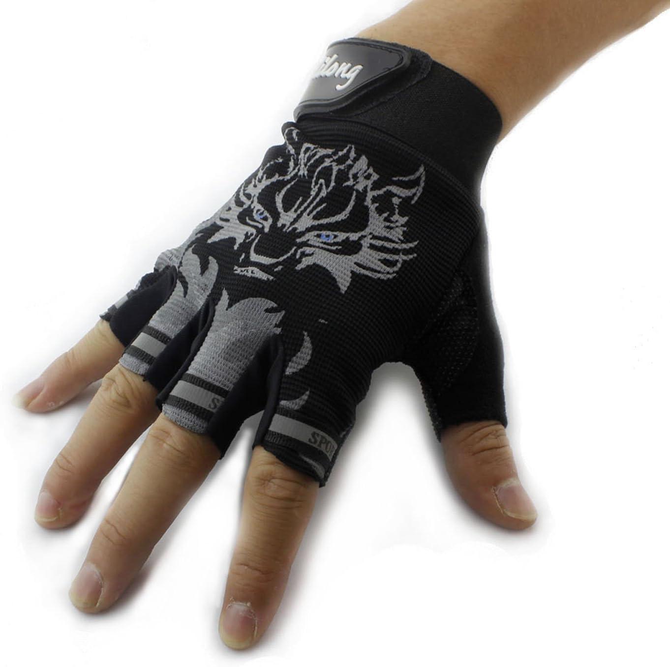 Wolf Mens Sports Training Shooting Biker Mototcycle Driving Fingerless Gloves F2