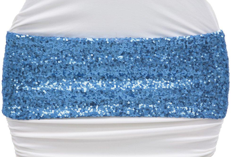 Glitzスパンコールスパンデックス椅子バンド約5インチ幅X 12インチ長( Unstretched ) ndash; Aquaブルー 50 Pcs ブルー 50 Pcs B074DD6BB1
