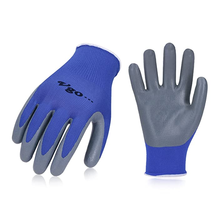 Vgo 10Pairs Nitrile Coating Gardening and Work Gloves (Size XL,Blue,NT2110)