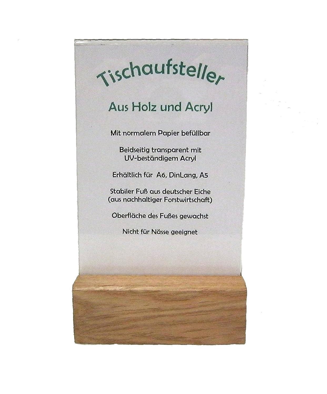 LINLAY Intarsien & Gravuren Din A5 Holz Acryl Tischaufsteller Prospekthalter Flyerhalter