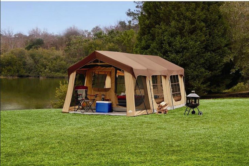1a1b873ee Amazon.com : Large 10 Person Family Cabin Tent w/Front Porch, Room Divider  and Rear Door. Great for Family, Guest, or Any Outdoor Sport Adventure  Camping.
