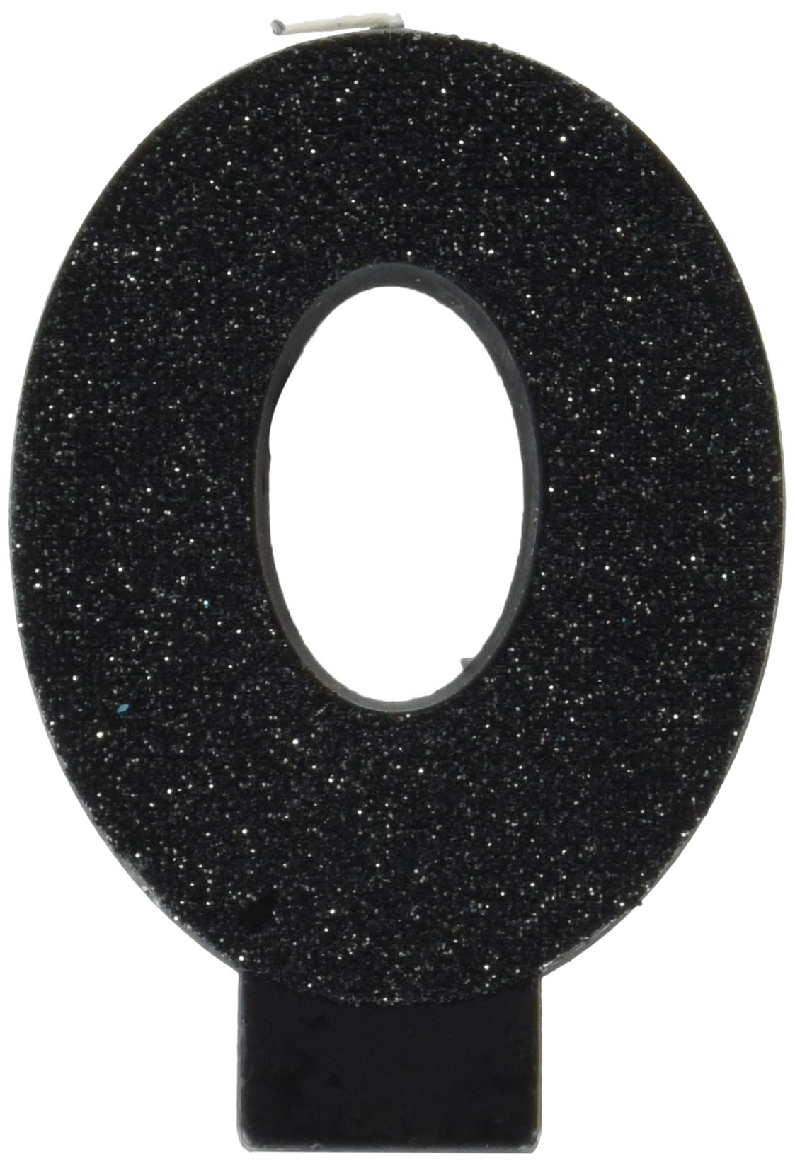 amscan Birthday Celebration, Numeral #0 Glitter Candle, Party Supplies, Black, 3 1/4""