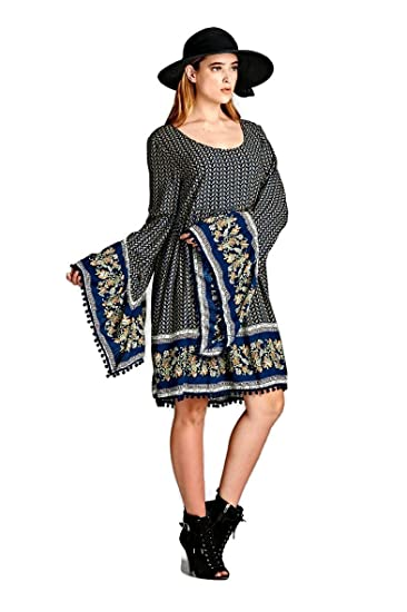7af3330cb1b Velzera Paisley Print Print Dress with Bell Sleeves Boho Chic Plus Size  (1X