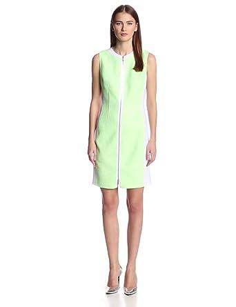 Elie Tahari Women's Mila Tweed Scuba Combo Sleeveless Dress, Bright Green, 10