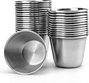 Bekith 30 Pack 1.5 oz Stainless Steel Sauce Cups, Small Individual Condiment Ramekins, Commercial Grade Dipping Cups, Portion Cups