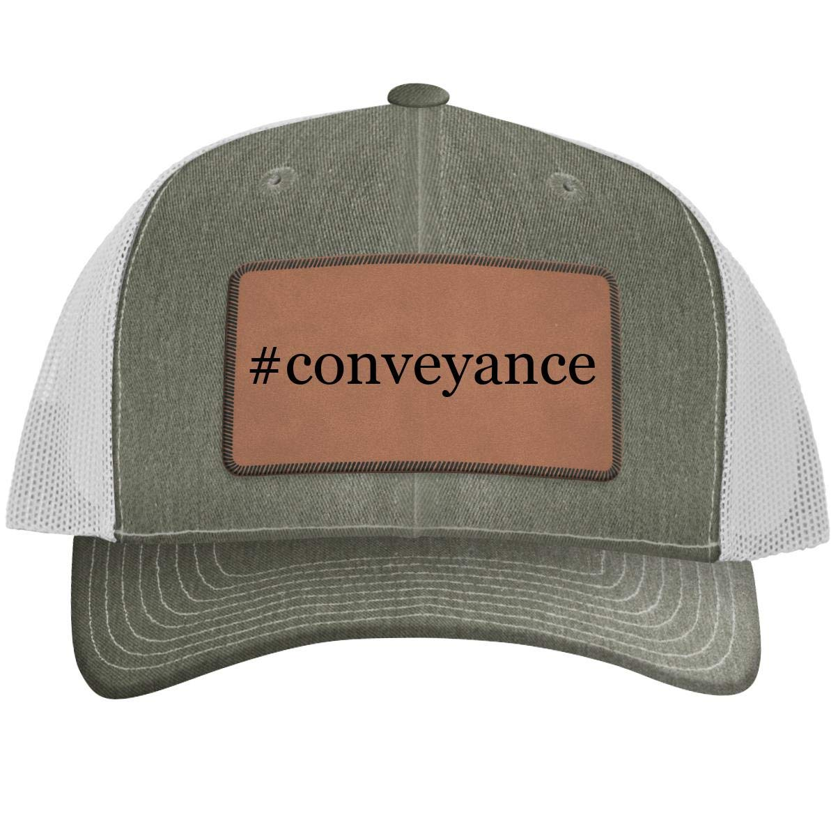 One Legging it Around #Conveyance - Leather Hashtag Dark Brown Patch Engraved Trucker Hat
