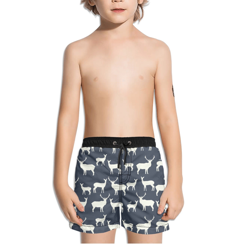 FullBo Navy Elk Deer Pattern Little Boys Short Swim Trunks Quick Dry Beach Shorts
